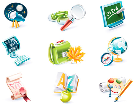 SCHOOL SUPPLIES AND ELEMENTS SET