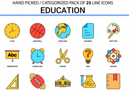 School Icons Lineart Graphics
