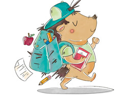Cute Hedgehog Character Wearing Bag, Walking To Go To School