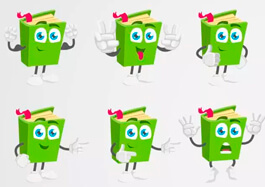 Cartoon Book Character Vector Set