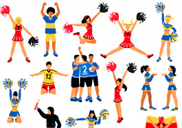 Free Cheerleaders and Football Players Illustrations Set