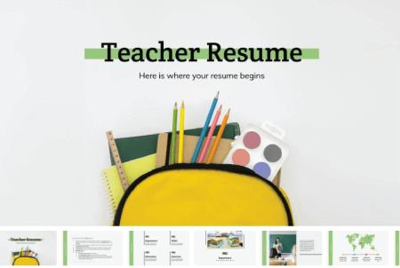 Resume Powerpoint Templates: Teacher Resume