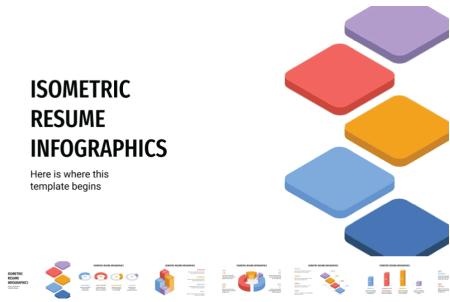 Resume Powerpoint Templates: Isometric Resume Infographics