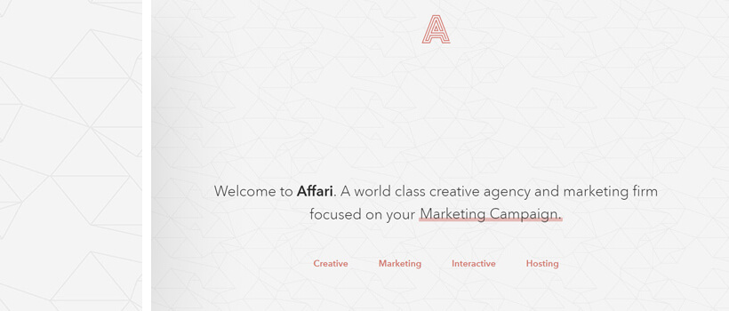 affari.co cool website design with low-poly background pattern