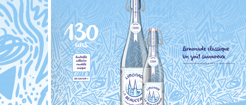 limonades-la-beauceronne.fr - beautiful webdesign with hand drawn patterns