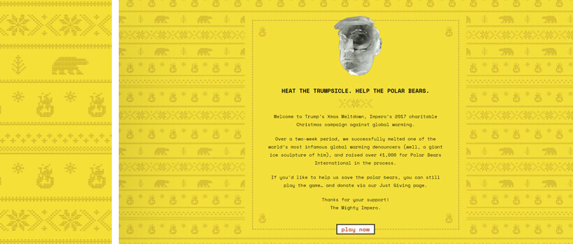 trumpsxmasmeltdown - yellow website design with knitted illustrations pattern