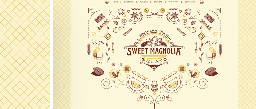 sweetmagnoliagelato - vintage looking design with seamless pattern background