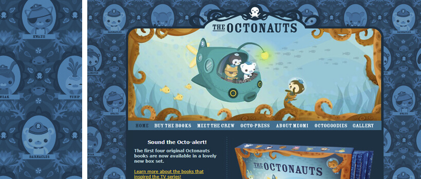 octonauts - children web design with cartoon pattern background