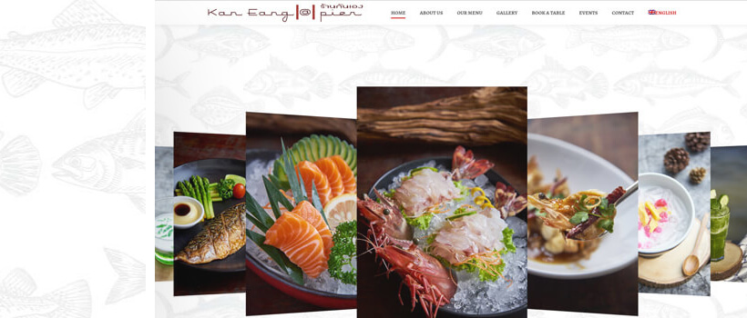 kan eang website design with fish pattern background