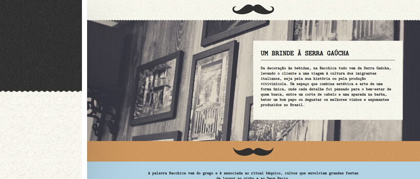bacchica - vintage barber website design with seamless texture pattern background