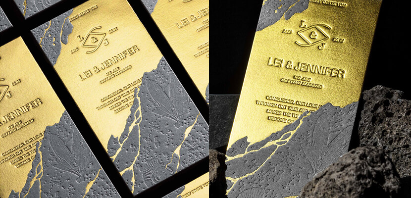 Graphic Design Trends 2020 - Golden and Metal look example 3