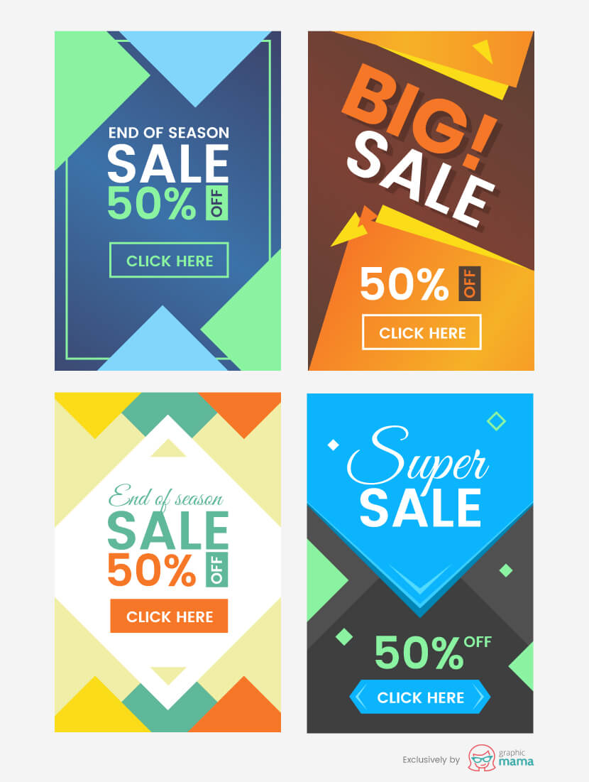 4 Free Abstract Vertical Banner Templates for Photoshop and Illustrator