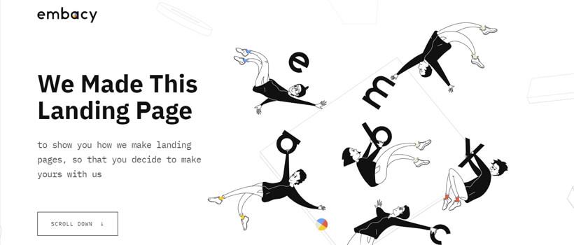 Minimalist website design - embacy