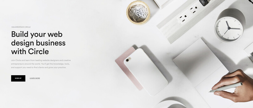 Minimalist website design - squarespace