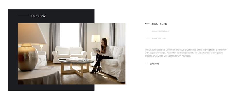 Minimalist website design - villalouisa