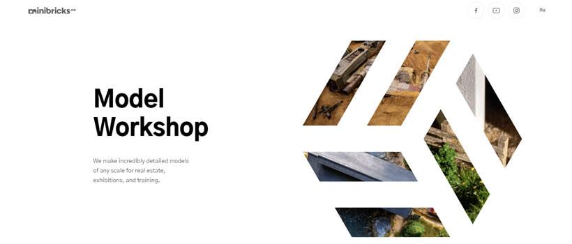 Minimalist website design - minibricks