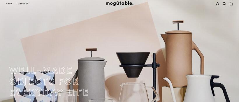 Minimalist website design - mogutable