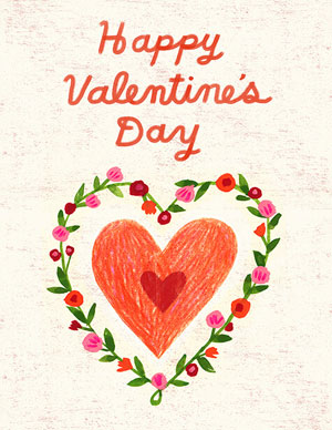 Valentine's day card designs: hand-drawn heart and wreath