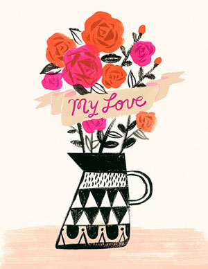 Valentine's day card designs: hand-drawn vase of flowers