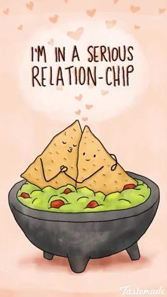 valentines day card funny food: i'm in a serious relation-chip