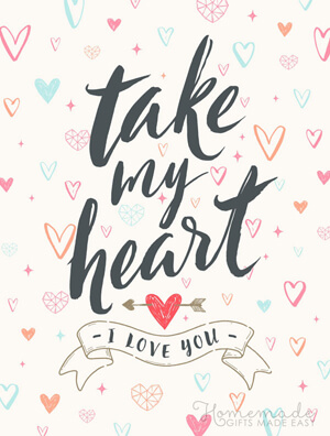 Typography-based Valentine's day card designs: Take my heart