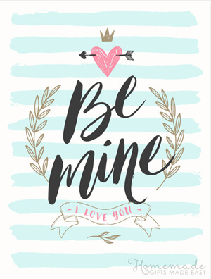 Typography-based Valentine's day card designs: Be mine
