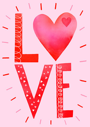 Typography-based Valentine's day card designs: LOVE