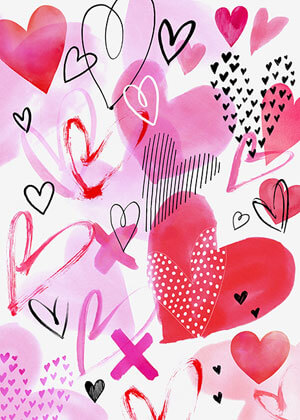 Valentine's day card designs: hearts watercolor style