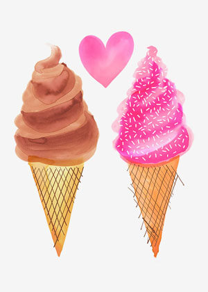 Valentine's day card designs: ice creams in love