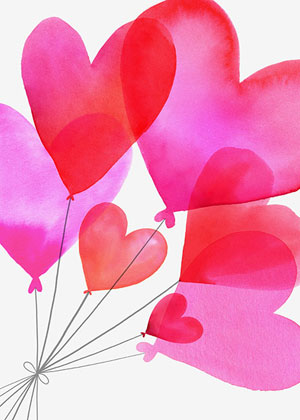 Valentine's day card designs: heart balloons