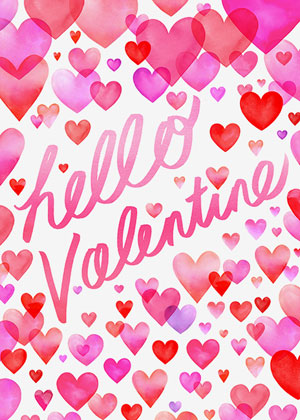Valentine's day card designs with hearts: hello valentine