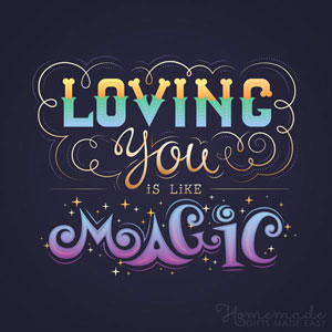 Typography-based Valentine's day card designs: Loving you is like magic