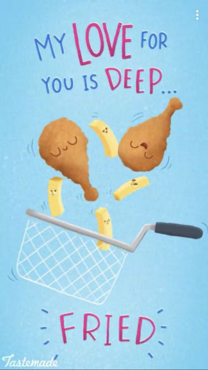 fun Valentine's day card designs: my love for you is deep fried