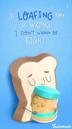 fun Valentine's day card designs: bread and peanut butter