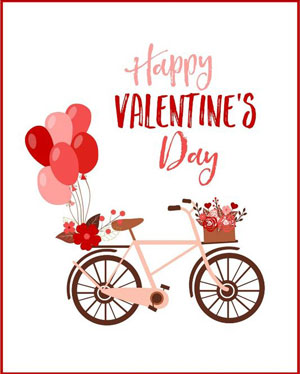 Valentine's day card designs: bike with balloons and flowers
