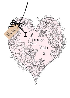 Valentine's day card designs: hand-drawn heart with flowers I love you