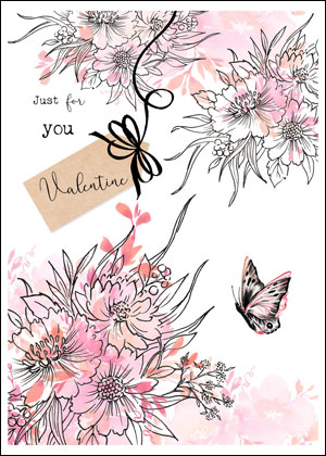 Valentine's day card designs: flowers and butterfly