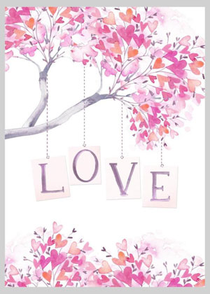Valentine's day card designs: love tree with heart leaves