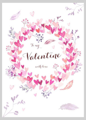 Valentine's day card designs: a wreath of hearts