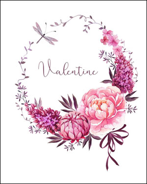 Valentine's day card designs: beautiful wreath of flowers