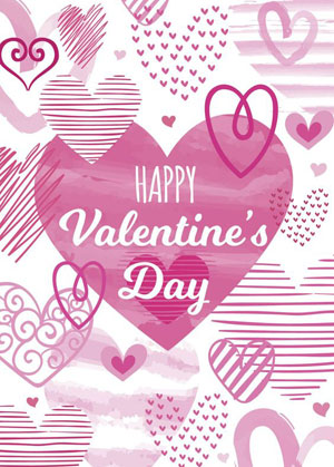 Valentine's day card designs with different hearts styles