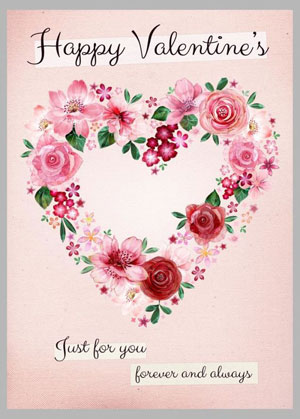 Valentine's day card designs: heart-shaped wreath
