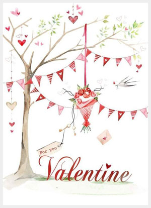 Valentine's day card designs: a festive tree and bouquet