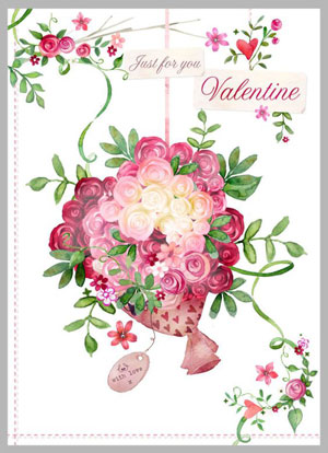 Valentine's day card designs: a bouquet of roses