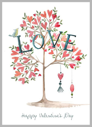 Valentine's day card designs: with love tree