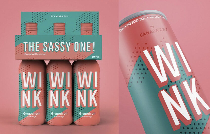 Retro package design - can-soda-wink