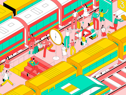 Amazing Isometric illustration styles - Youre Late illustration