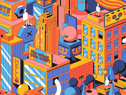 Amazing Isometric illustration styles - SAMSUNG NY HYPNO illustration