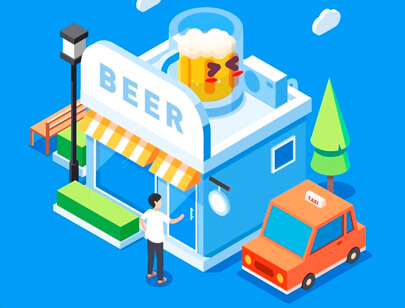 Amazing Isometric illustration styles - beer shop illustration