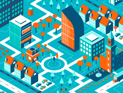 Amazing Isometric illustration styles - Quiet-Town-illustration